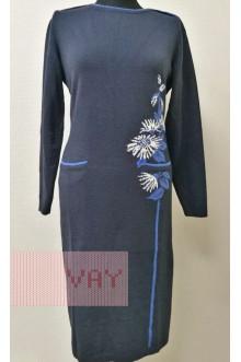 Платье женское 182-2368 Фемина (Темно-синий/деним/белый)