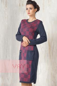 Платье женское 2260 Фемина (Темный джинс/брусника)